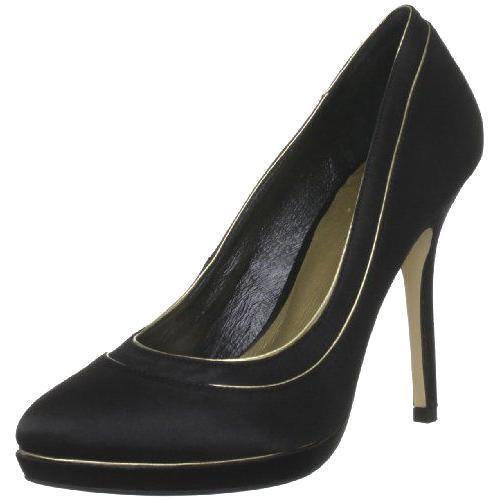 Menbur Womens UK 6 EU 39 Black & Gold High Heel Stiletto Satin Court Shoes (New)