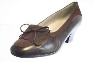 Ladyform-Pumps-braun-Leder-Schuhweite-H-Applikation-Gr-38-5-UK-5-5
