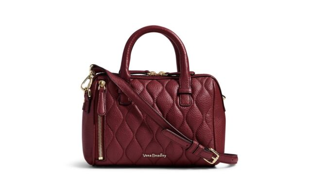 Vera Bradley Leather Quilted Mini Marlo Crossbody in Claret