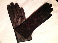 Black Lace & Leather Women's Portolano Gloves Size 7 Amazing