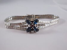 60/70er ARMBAND 925 Silber mit klaren blauen und roten Steinen vintage Bracelet