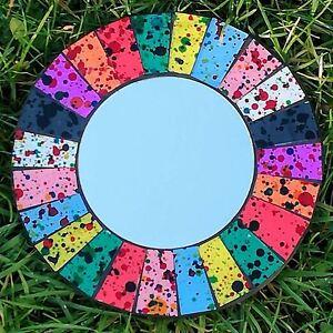 Mosaic-Mirror-Rainbow-Colours-Glass-Round-Fair-Trade-Handmade-Wall-Hanging
