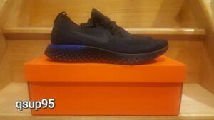 Nike Epic React Flyknit Black Racer Blue Men & Women Sz 6-13 New AQ0067-004