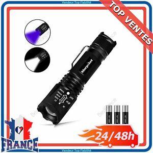 2 en 1 Lampe Torche LED de Poche Tactique Militaire et UV Lumière Noire