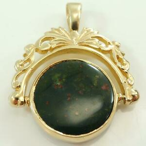 Vintage-Pre-Owned-9-carat-Gold-Blood-Stone-amp-Onyx-Swivel-Watch-Fob-Charm