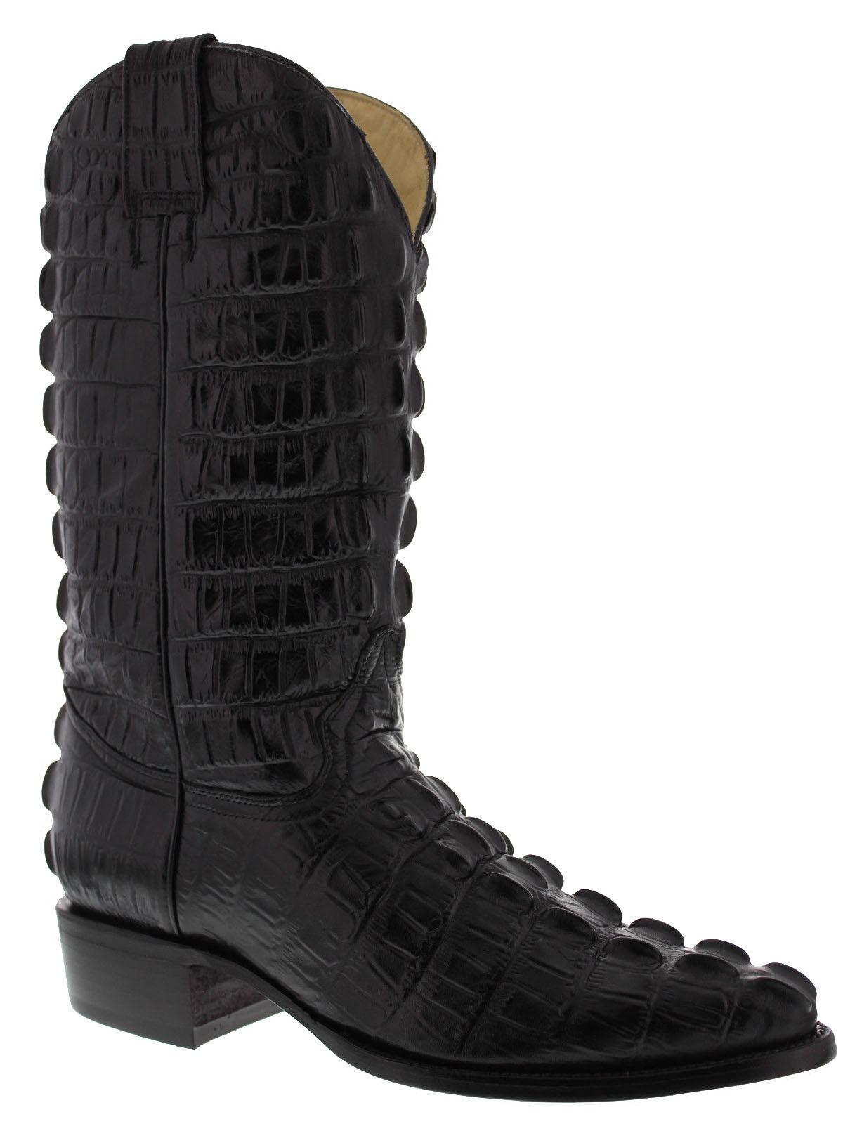 Mens Black Full Crocodile Western Leather Cowboy Boots Tail Cut Pattern J Toe