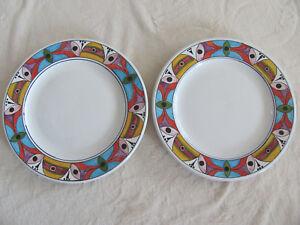 Deruta-Pottery-Italy-Villagio-Multi-Color-Geometric-Set-of-2-Dinner-Plates