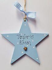 Personalised Wooden Boys Room Door Hanger Star Shaped Decoration Plaque Gift