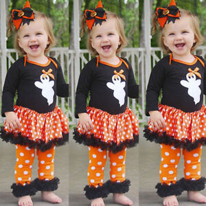 Newborn-Infant-Baby-Girl-Ghost-Dot-Dress-Romper-Pant-Halloween-Cotton-Outfit-Set