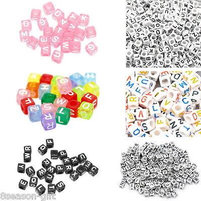500PCS Mixed Cube Acrylic Letter/Alphabet Beads Colorful