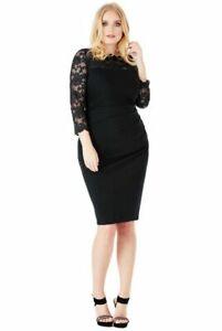 Goddiva Plus Size Lace Long Sleeved Midi Cocktail Party Dress