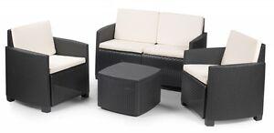 Mobili da giardino Salotto POLY RATTAN da esterno poltrone + tavolino + divano