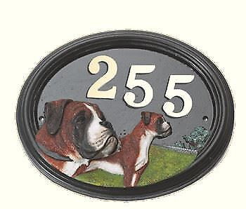 Boxer Dog - Hand Painted House Sign   Plaque with Number