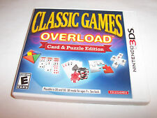 Classic Games Overload Card & Puzzle Edition (Nintendo 3DS) XL w/Case & Manual