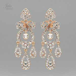 Rose gold plated clear crystal rhinestone chandelier drop dangle image is loading rose gold plated clear crystal rhinestone chandelier drop aloadofball Image collections