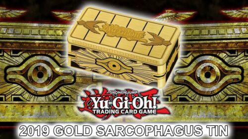 3 Mega-Packs /& 5 Foils Yu-Gi-Oh Cards ~ 2019 Collectors Tin ~ Gold Sarcophagus
