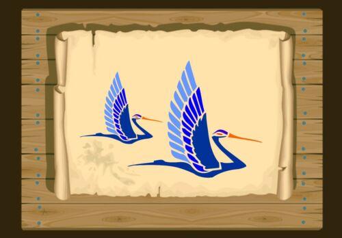 Pair of Art Deco Flying Cranes Stencil 350 micron Mylar not thin stuff #Bird008