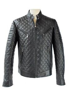 Details zu Seta Pelle Gesteppte Herren Biker Lammnappa Lederjacke echtes Leder schwarz S80