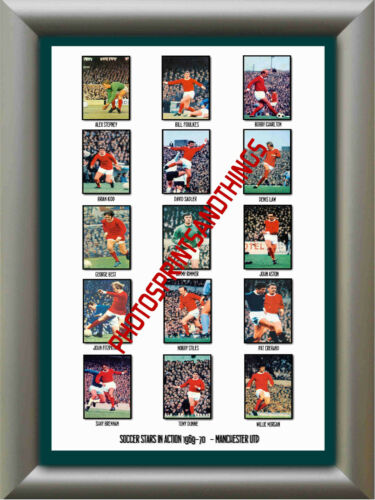 1969-70 REPRO STICKERS A3 POSTER PRINT MANCHESTER UTD