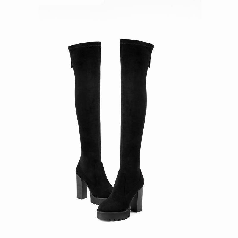 Zapatos de tacón alto Mujer punta rojoonda Bloque De Plataforma Elástico Suede sobre la rodilla botas