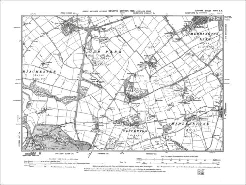 Merrington Lane Westerton old map Durham 1898: 34SE repro Middlestone