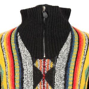 Vintage-Alpaca-Wool-Cosby-Sweater-Jumper-Knit-3D-Patterned-Zip
