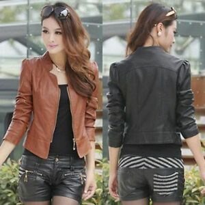 Vintage-Women-Slim-Biker-Motorcycle-PU-Soft-Leather-Zipper-Jacket-Coat-Fashion