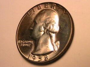 1958-D-Washington-25-Cents-Silver-USA-Quarter-Lustrous-White-Denver-Mint-Gem-BU