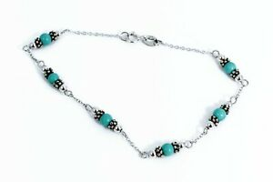 Sterling-Silver-Turquoise-Bead-Chain-Bracelet-ATI-925-CN-7-5-034-3-5-mm-Beads-Nice