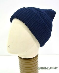 FRENCH-ARMY-SURPLUS-NAVY-BEANIE-HAT-NEW-OLD-STOCK-WATCH-CAP-WINTER-HAT-MILITARY