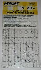 """OLFA ANTI SCIVOLO SATINATO Acrilico Quilting righello 6 """"X 12"""" tessuto carta qr-6x12"""
