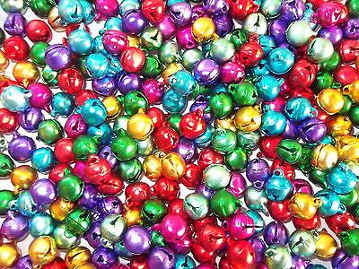 100 x  10mm Jingle Bells Multi coloured, craft, scrapbooking, sewing etc.