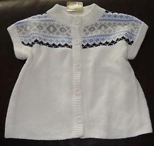 Crazy 8 Panda Bear collection fair isle s/s cardigan sweater NWT 5 5T white blue