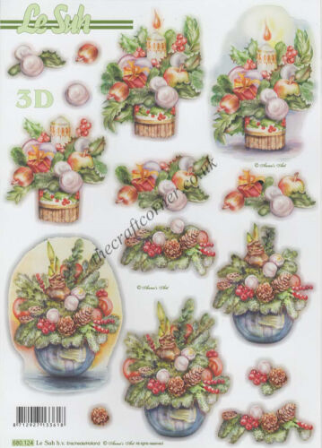 Christmas Candles Die Cut 3D Decoupage Sheet Paper Crafts Card Making NO CUTTING