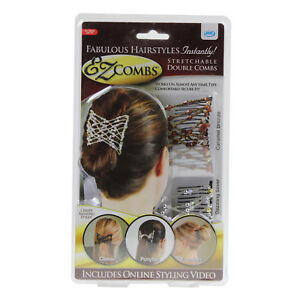 Ez-Combs-Stretchable-Double-Comb-Caramel-Bronze-Dazzling-Silver-Ladies-Hair-Grip