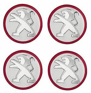 1608265280 Genuine PEUGEOT 308 Matt Red Circle CENTRE CAPS
