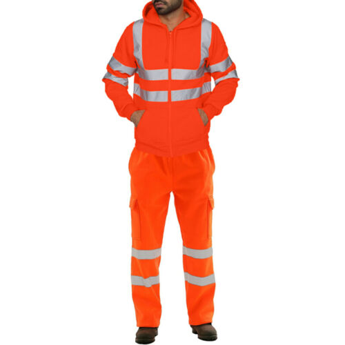Hola Vis VIZ VISIBILIDAD Ropa de Trabajo Seguridad Amarillo Abrigo Pantalones Conjunto De Chaqueta Y Pantalones reino unido