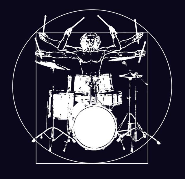 Mens T Shirt bass Drum Set Print Musician Drumer original Funny cool Design