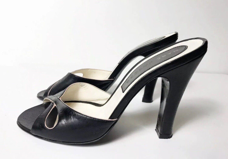 molto popolare Marc Jacbos 6.5 nero nero nero Leather Peep Toe Sandal Heels  Vero Cuoio  300  spedizione veloce in tutto il mondo