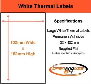 101mm x 50mm Plain White Self Adhesive Postage Parcel Labels