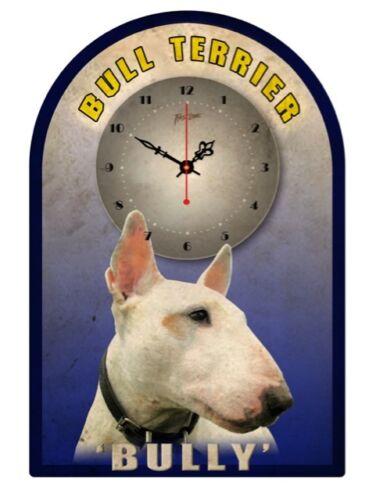 BULL TERRIER  RETRO TIN SIGN CLOCK  Bully