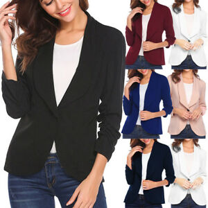 12be5b13c3213 Women Plain Blazer Jacket Suit Long Sleeve Ladies Business Work Coat ...