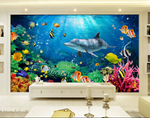 3D Sea Dolphin 4428 Wallpaper Murals Wall Print Wallpaper Mural AJ WALL UK Lemon