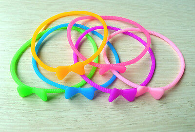 5pcs Lovely Color Silicone Butterfly Bowknot Bracelet Bangle Elastic Wristband
