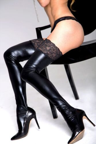 7 heaven Wetlook Stockings with Lace Top Fetish Clubwear Faux Latex