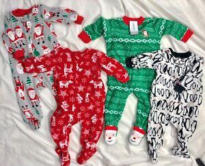 dfea1fa39f11 Carter s Fleece Pajamas Christmas Santa Penguins Boys 6M One Piece ...