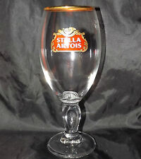 STELLA ARTOIS CHALICE GOBLET LAGER WINE 33cl 330ml GLASS GOLD RIM WIDGET BASE