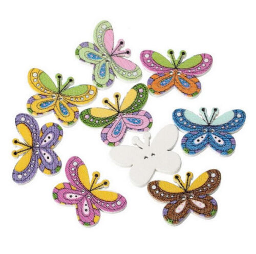 """20 BUTTERFLY 2-hole White Wood Buttons 1/"""" Scrapbook Craft 9005 25mm"""