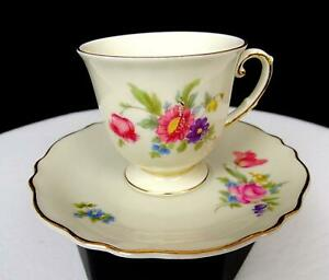 """FRANCONIA KRAUTHEIM K&A SELB BAVARIA NORINA MULTIFLORAL 2 3/8"""" CUP AND SAUCER"""