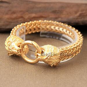 080660205 Gold Lion Heads Franco Chain Cuban Link Men's Bracelet Bling Hip Hop ...